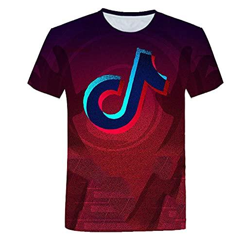 T-fashion shop Nuevo en 2021,Camiseta de Ocio de impresión Digital No Cuello de Manga Suelta de Manga Corta Masculina-S_5XL
