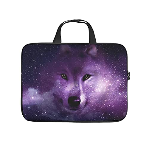 trippy space wolf animal Laptop bag Design Laptop Case Bag vintage Shockproof Computer Protective Bag with Portable Handle for Women Men white 12 zoll