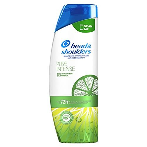 Head & Shoulders, Pure Intense Sébo-Régulateur Shampoing Antipelliculaire, Purifie et Protège les Cheveux Gras et le Cuir Chevelu, 400 ml