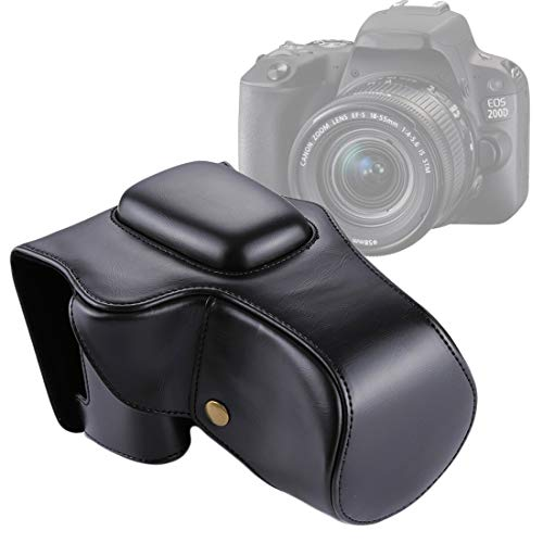 Camera-accessoires Full Body Camera PU Leather Case tas for Canon EOS 200D (18-55 mm lens) (zwart) (Color : Coffee)