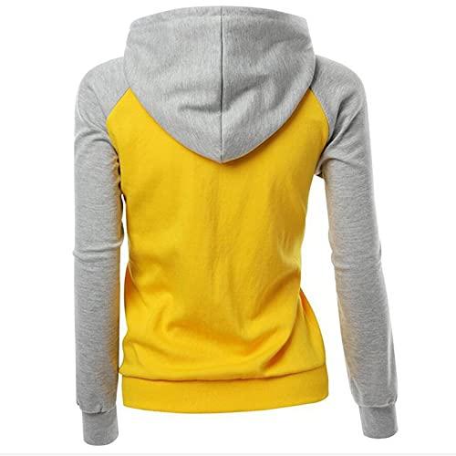 SLYZ Chaquetas De Mujer Europeas Y Americanas Blusa De Suéter con Capucha De Bolsillo con Costuras De Color En Contraste De Moda