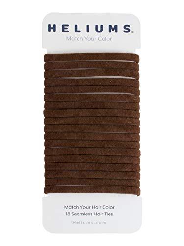 Heliums Dark Ash Brown Skinny Seamless 6mm Medium Hold Soft Nylon Fabric Rolled Ponytail Holders - 18 Hair Ties