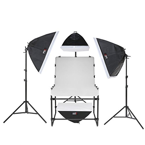 Life of Photo Aufnahmetisch-Set AT-6090-4, 16x150 W mit Unter-Tischbeleuchtung für Produktfotografie Foto Fotostudio
