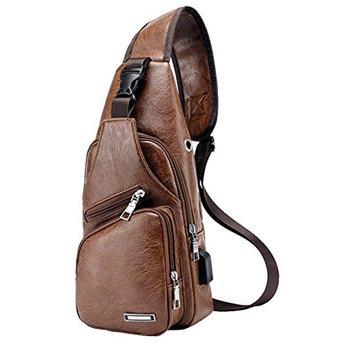 Large Men's Leather Sling Bag Chest Shoulder Backpack Water waterproof Crossbody Bag with USB Charging Port for Travel, Hiking,Cycling (Large Light Brown)