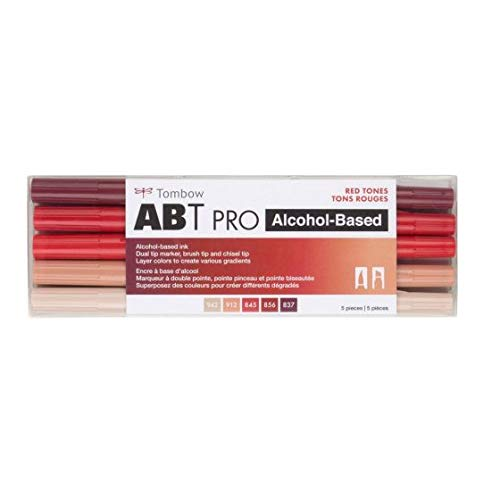 Tombow 56974 ABT PRO Alcohol Markers, Red Tones, Set of 5 Colors – Dual Tip, Permanent Art Markers Feature Chisel and Brush Tips Perfect for Coloring, Sketching, and Creating Color Gradients