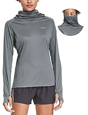 BALEAF Women's Hoodie Shirts with Face Cover Long Sleeve UPF 50+ Lightweight Quick Dry SPF Neck Gaiter Hiking Fishing Outdoor Dark Gray Size L