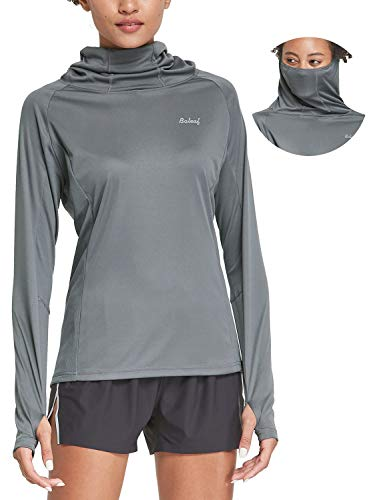 BALEAF Women's Hiking Long Sleeve Shirts with Face Cover Neck Gaiter UPF 50+ Lightweight Quick Dry SPF