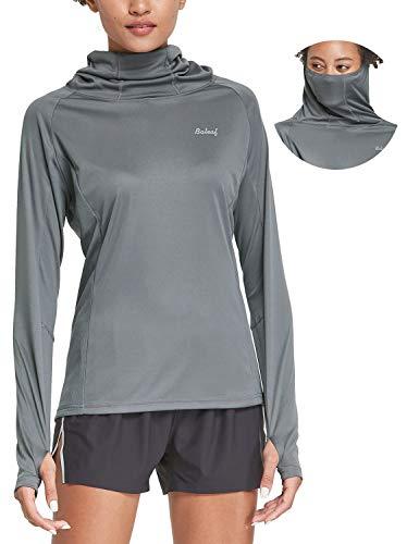 BALEAF Women's Hiking Long Sleeve Shirts with Face Cover Neck Gaiter UPF 50+ Lightweight Quick Dry SPF Fishing Running Hoddie Dark Gray Size M
