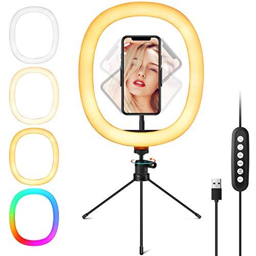 """Fuloon 12"""" RGB Selfie Ringleuchte Ringlicht mit Stativ und Mobiltelefonhalterung, 150 Lampenperlen 2600-6000K, 3 Beleuchtungsmodi, 10 Helligkeitsanpassungen, für YouTube/Selfie/Live-Streaming"""