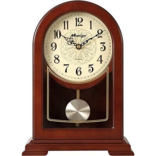 Sooiy Repisa Retro Reloj de Mesa péndulo Madera Dura batería de un Reloj clásico Europeo operado Inicio PM Adornos 30x21cm (12x8inch) Relojes de Chimenea
