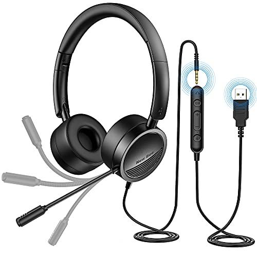 Auriculares Micrófono PC Auriculares Telefono USB/3.5mm Cancelación de Ruido &