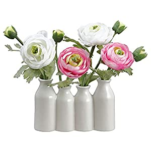 SilksAreForever 9″ Silk Ranunculus Flower Arrangement w/Ceramic Bottle Vase -White/Pink (Pack of 6)
