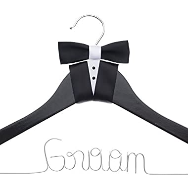 Ella Celebration Groom Hanger for Tuxedo or Suit, Hangers for Bridal Party, Wooden and Wire, Black Wood (Groom)