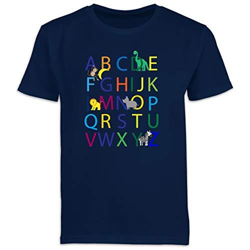 Einschulung und Schulanfang - ABC Einschulung - 140 (9/11 Jahre) - Navy Blau - ABC Shirt - F130K Schulanfang - Schulanfang Jungen T-Shirt Kinder