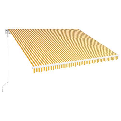 Festnight Tenda da Sole Retrattile Automatica, Tenda da Balcone, Tenda da Sole, Tenda da Sole da Esterno per Balcone 400x300 cm Gialla e Bianca