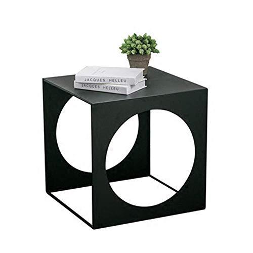 KAISIMYS Mesa de Centro Mesa de Centro pequeña de Hierro, Creativo sofá móvil Mesa Auxiliar de Metal Mini Armario Lateral Mesa Auxiliar Negra nórdica de Varios tamaños Opcional (Tamaño: 45x45x45cm)