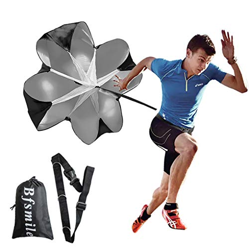"""Bfsmile Running Speed Training 56"""" Parachute with Adjustable Strap, Free Carry Bag. Speed Chute Resistance Running Parachute for Kids Youth and Adults (1 Umbrella)"""