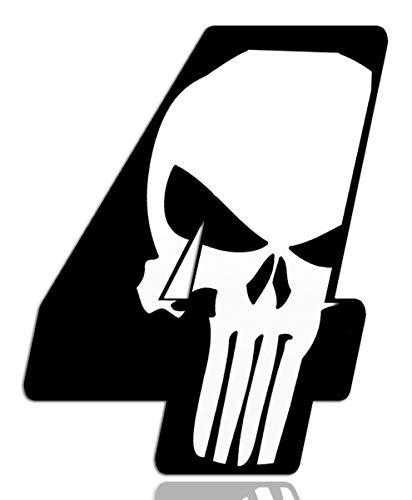 Biomar Labs® Startnummer Nummern Auto Moto Vinyl Aufkleber Sticker Skull Schädel Punisher Weiß Motorrad Motocross Motorsport Racing Nummer Tuning 4, N 364