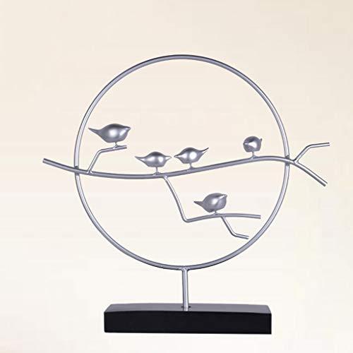 HandWerk Dekoration Neue Chinesische Elster Zen Skulptur Dekoration Kreative Wohnzimmer Bürozimmer Weiche Dekorationen Moderne Einfache Kunstwerk Ornamente (Color : Silver)