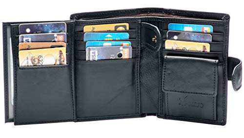 Large RFID Genuine Leather Card Holder Trifold Wallet Snap Closure 3 ID Windows for men (Black)