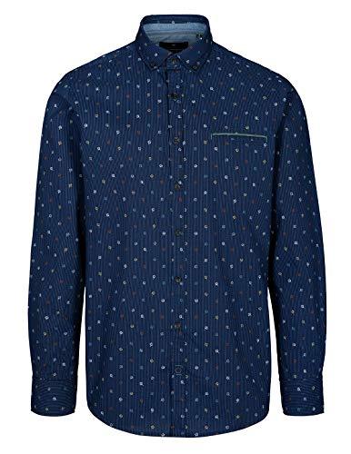 BASEFIELD Freizeithemd mit Streifen-Print - Blue Navy