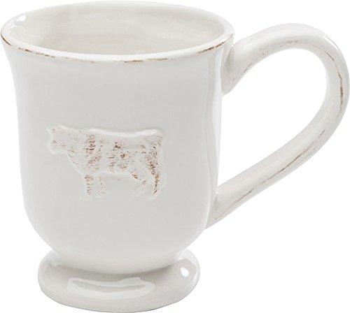Kare Tasse Little Farm Kaffee-Tasse mit Kuh-Motiv, Kaffee-Becher im Landhausstil im Vintage Look, Steingut, 300 ml Design