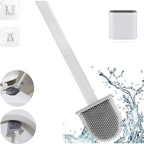Spazzolone WC in Silicone, scopino e portascopino, Set Portaspazzolino per WC, Scopino per WC in Silicone Morbido, Per WC, vasca da bagno, lavabo, Bianca