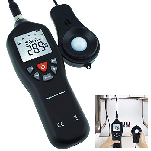 GAIN EXPRESS Digital Light Meter Lux Meter Measurement Range Detachable Sensor 0 to 200,000 Lux Min/Max/Avg Functions (with Data Record Function) + CD Software w/USB Power Cable