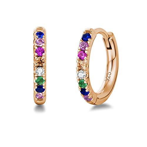 Orecchini a Cerchio Piccoli per Donna in Argento Sterling 925 Placcato Oro Rosa con Zirconia Cubica - Diametro: 13 mm