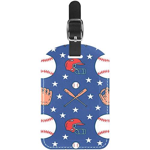 Etiquetas de equipaje de béisbol con guantes de cuero para maleta de...