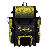 Boombah Rolling Superpack 2.0 Baseball/Softball Gear Bag - 23-1/2' x 13-1/2' x 9-1/2' - Softball Black/Optic Yellow/Red - Telescopic Handle - Holds 4 Bats - Wheeled Version