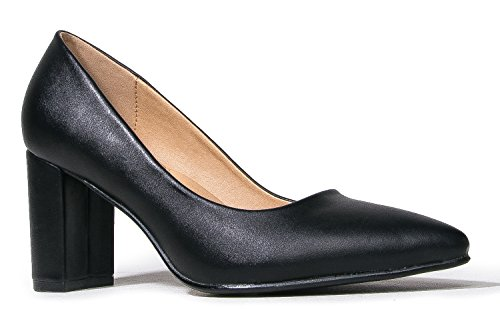 J. Adams Jolie Heels for Women - Black Faux Leather Mid Block Heel Pumps - 11