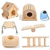 SHULI Giocattoli per criceti Accessori per Gabbia per criceti per Habitat di Piccoli Animali in Legno Naturale per Ratto Set da 6 Pezzi