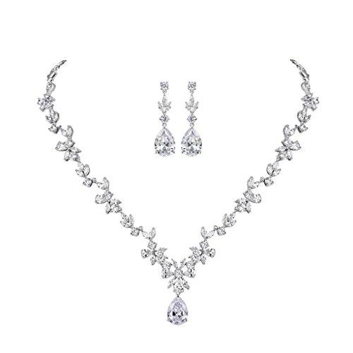 MASOP Braut Schmuckset Hochzeitsschmuck Blumen Ohrringe und Halskette mit Anhänger Weiß Tropfen Zirkonia CZ Bling Ohrhänger