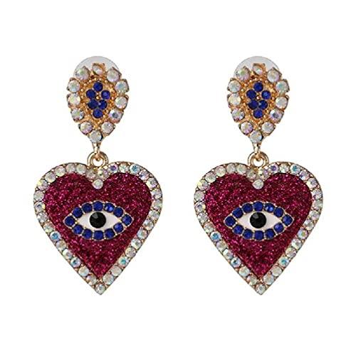 Pendientes largos de cristal púrpura azul para mujer, elegantes ojos en forma de boda nupcial pendientes de moda joyería aro pendientes mujeres