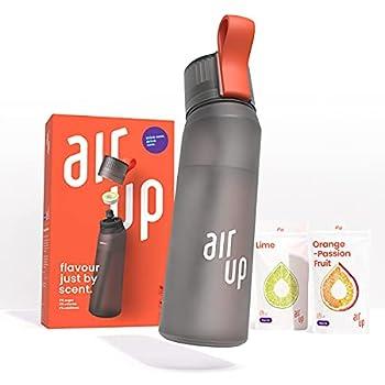 air up Starter Set - 1 x Bouteille d'eau sans BPA 650 ml, 2 x Pods Arôme Citron Vert et Orange-Fruit de la passion - pour aromatiser l'eau, 0 Sucre, 0 Calorie ? Noir