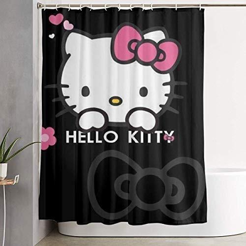 NHUXAYH Duschvorhang Hello Kitty Kunstdruck, Polyester-Stoff-Badezimmer-Dekorations-Sammlung mit Haken 60 X 72 Zoll