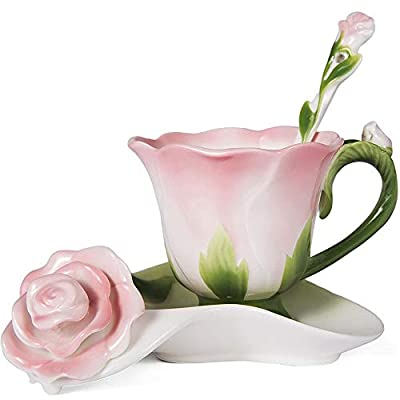 OneUstar Coffee Cups and Saucers Sets with Spoon Tea Cups Rose Flower Shape Gifts, Pink