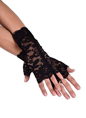 jowiha® Kurze Handstulpen aus Spitze Schwarz Einheitsgröße