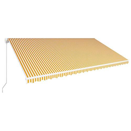 Festnight Luifel handmatig uittrekbaar zonnescherm met zonnescherm Tuinterras Luifel Gazebo Multi-streep met fittingen en slinger 600x300 cm geel en wit