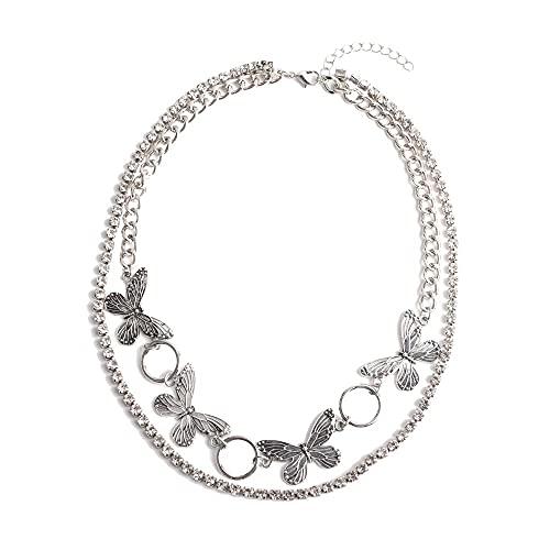 Colgante de moda geométrica de doble capa de diamantes de imitación collar de cadena de garra para mujer
