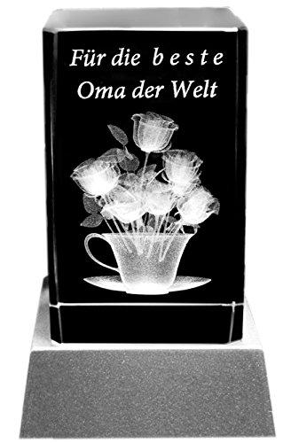 Kaltner Präsente Sfeerlicht – een heel bijzonder cadeau: led-kaars/kristalglazen blok/3D-lasergravure bloemen beste oma der wereld