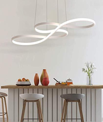 Lámpara colgante moderna de LED, plafón artístico con potencia de 48 W, luz diurna 6000 K, altura de suspensión ajustable