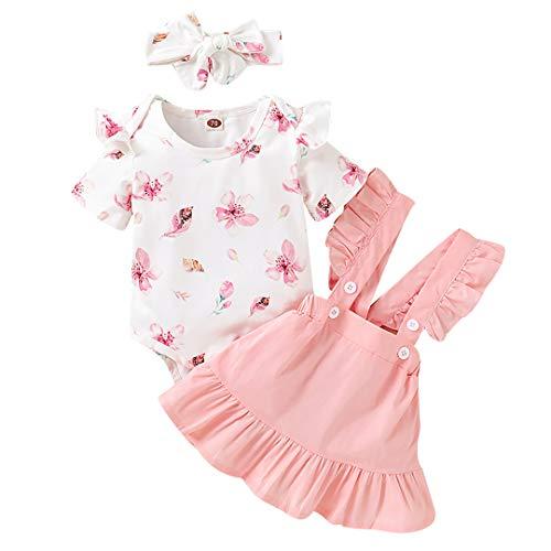 Geagodelia Babykleidung Set Baby Mädchen Kleidung Outfit Body Strampler + Rock mit Hosenträger und Rüschen Neugeborene Weiche Babyset T-42553 (Pink 83 - Kurzarm, 0-6 Monate)