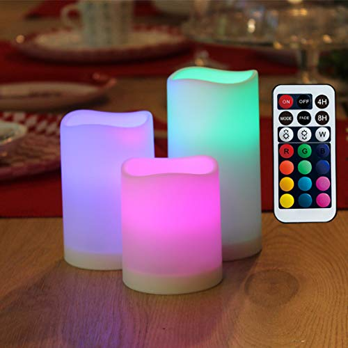 WRalwaysLX Flameless Candles with Timer, Colour Changing LED Candles with Remote Control,Battery Candles Outdoor and Indoor Home Decor, Set of 3, 2.5' D X4 H by 3AAA Batteries(not Included)