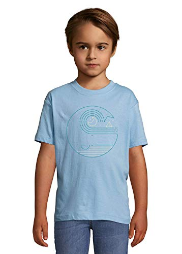Luckyprint Sea Travel Waves and Moon Abstract Graphic Heaven Kids Colorful T-Shirt 4 Year Old