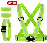 Q&A Chaleco reflectante, cinturón reflectante con 2 paquetes de brazaletes reflectantes, chaleco de seguridad elástico ajustable cinturón reflectante para correr, trotar, caminar, ciclismo