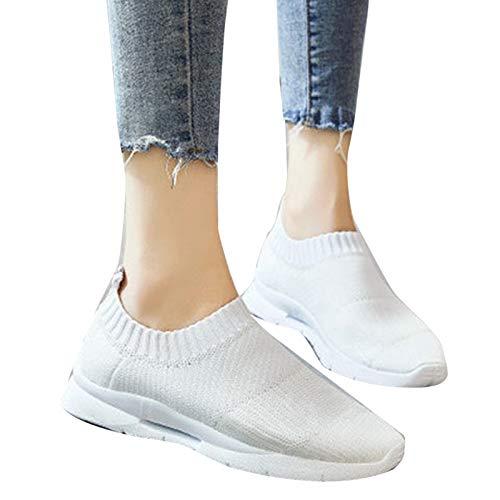 Delisouls Zapatillas de deporte casuales ligeras para mujer, con superficie de malla transpirable, suela de goma gruesa para correr, gimnasio