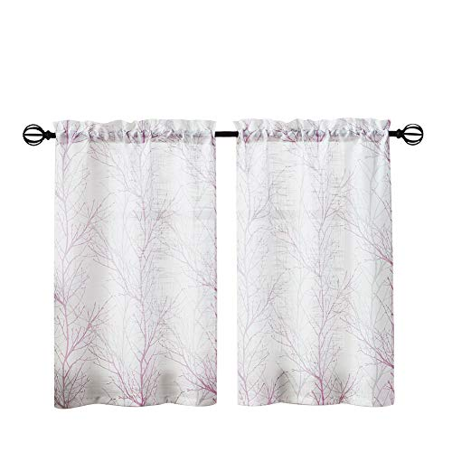 FMFUNCTEX Lilac Tier Kitchen Curtains 36-inches for Bathroom Basement Tree Print White Half Window Curtain Panels 2 Panels Purple and Grey