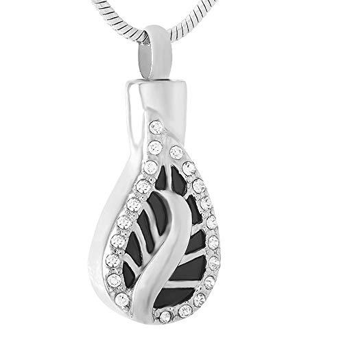 KBFDWEC Collar con Colgante de joyería de cremación de Recuerdo de Ceniza Conmemorativa de Acero Inoxidable con dijes de Hojas de Diamantes de imitación Transparentes para Mujer